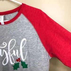 Tops - Joyful Raglan Tee Shirt Holiday Christmas Shirt L